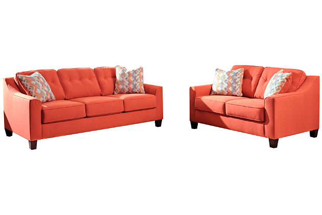 ... Menga Sofa And Loveseat, Rust, Large ...