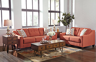 Menga Sofa and Loveseat, Rust, large