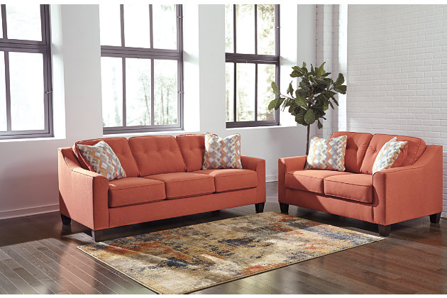 Superbe Menga Sofa And Loveseat, Rust, Large ...