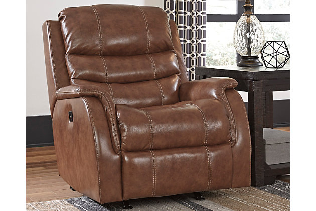 Metcalf Power Recliner by Ashley HomeStore, , Leather (10...