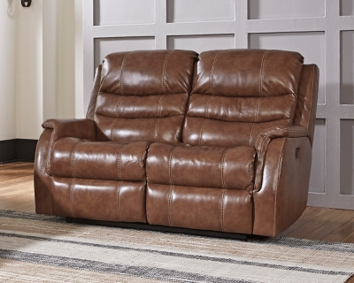 Affordable Reclining Loveseat Nutmeg Leather Power Product Photo