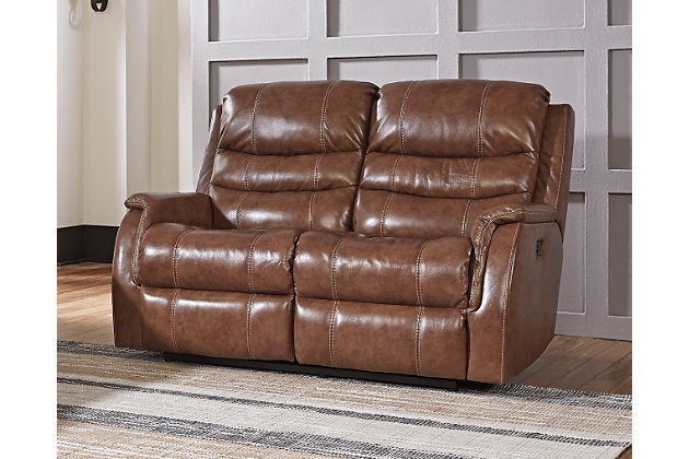 Metcalf Power Reclining Loveseat by Ashley HomeStore, , Leather (100 %)