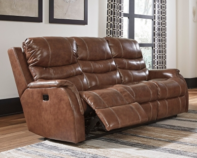 Reclining Sofa Nutmeg Leather Power Product Photo