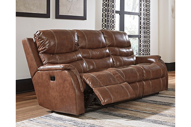 Metcalf Power Reclining Sofa by Ashley HomeStore, , Leather (100 %)