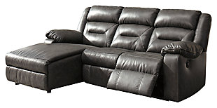 Coahoma 3-Piece Reclining Sectional with Chaise, Dark Gray, large