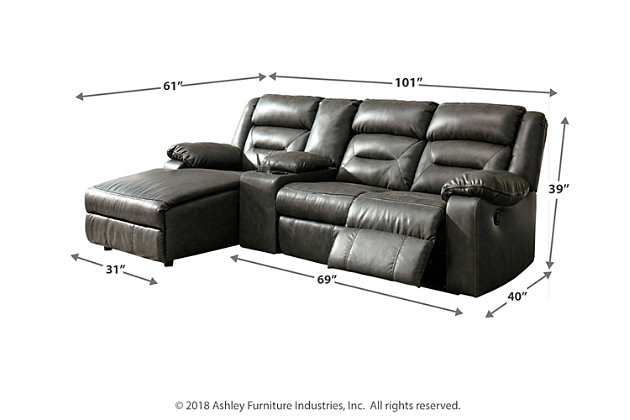 Coahoma 4-Piece Reclining Sectional with Chaise, Dark Gray, large