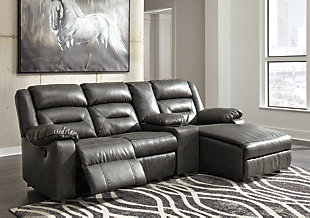 Coahoma 4-Piece Reclining Sectional with Chaise and Power, Dark Gray, rollover