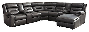 Coahoma 7-Piece Reclining Sectional with Chaise, Dark Gray, large