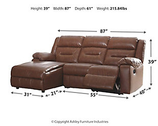 Coahoma 3-Piece Reclining Sectional with Chaise and Power, , large