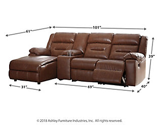 Coahoma 4-Piece Reclining Sectional with Chaise, Chestnut, large
