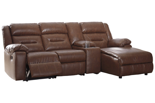 Coahoma 4-Piece Reclining Sectional with Chaise and Power, Chestnut, large