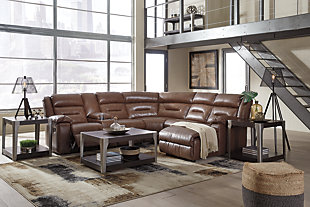 Coahoma 7-Piece Reclining Sectional with Chaise, Chestnut, large