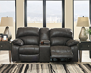 Dunwell Power Reclining Loveseat with Console, Steel, rollover
