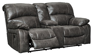 Dunwell Power Reclining Loveseat with Console, Steel, large