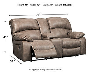 Dunwell Power Reclining Loveseat with Console, Driftwood, large