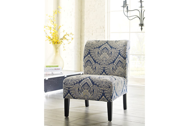 Blue & White Honnally Accent Chair by Ashley HomeStore, Polyester/Rayon