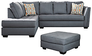 Filone 2-Piece Sectional with Ottoman, Steel, large