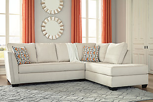 Filone 2-Piece Sectional with Chaise, Ivory, rollover
