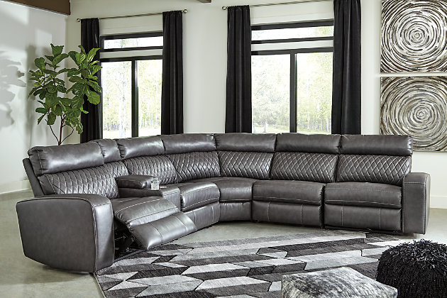 Samperstone 6 Piece Power Reclining, Gray Leather Sectional Ashley Furniture