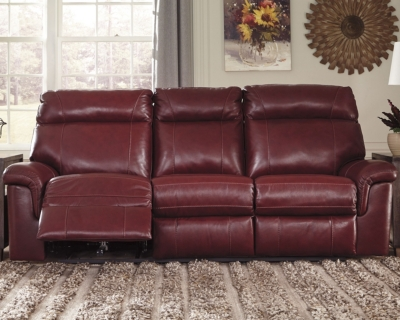 Reclining Sofa Crimson Leather Power Product Photo 254