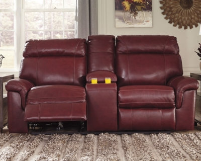Serious Reclining Loveseat Console Crimson Leather Power Product Photo