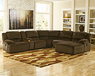 Toletta 6-Piece Reclining Sectional with Chaise, Chocolate, rollover