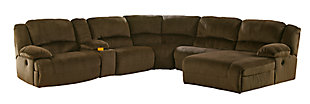 Toletta 6-Piece Reclining Sectional with Chaise, Chocolate, large