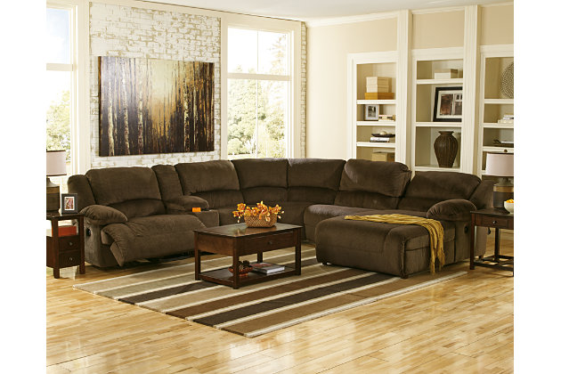 Ashley Furniture Sectional Chocolate toletta 6-piece sectional with power | ashley furniture homestore