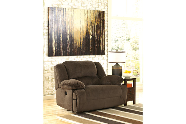 Plush Stuffed Soft Textured Brown Wide Seat Recliner Chair With One Touch  Power Option