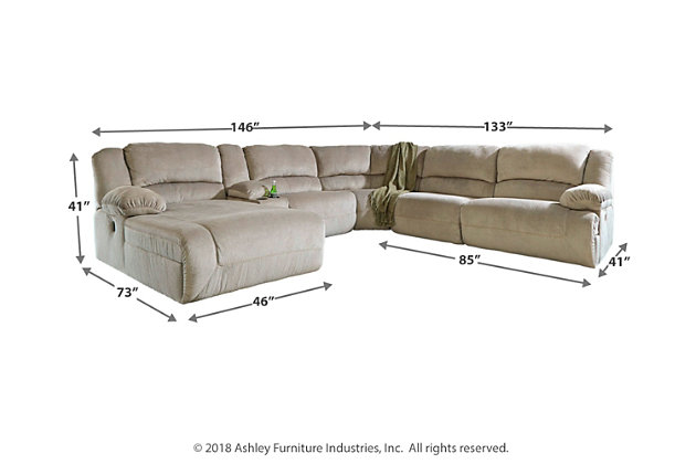 Toletta 6-Piece Sectional with Power, Granite, large