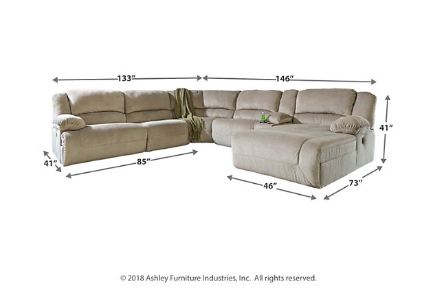 Toletta 6-Piece Reclining Sectional with Chaise and Power, Granite, large