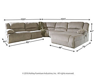 Toletta 6-Piece Reclining Sectional with Chaise Non-Power, Granite, large