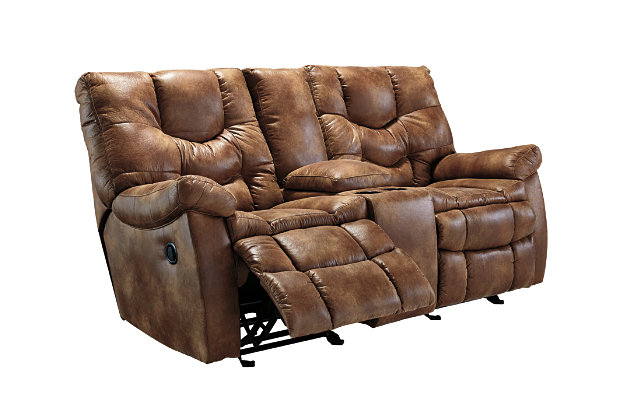 Darshmore Glider Reclining Loveseat with Console, , large
