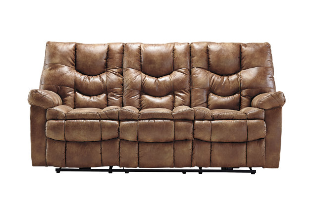 Almond Brown Soft Leather Like Upholstery On This Reclining Couch With  Power Control Options