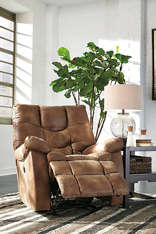 Darshmore Power Recliner, Almond, rollover