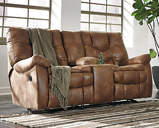 Large Darshmore Glider Reclining Loveseat With Console Rollover
