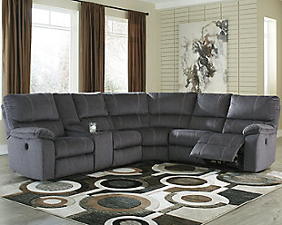 Urbino 3-Piece Power Reclining Sectional, Charcoal, rollover
