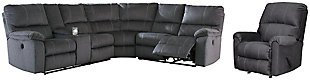 Urbino 3-Piece Sectional with Recliner, Charcoal, large