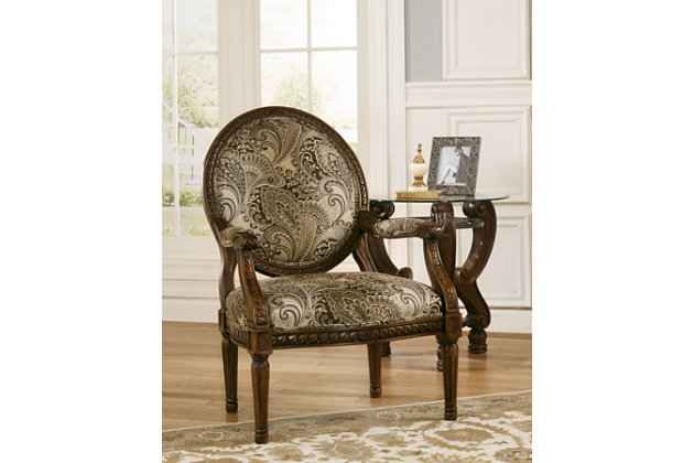 Superior Round Back Ornate Framed Accent Chair With Earth Tone Green Paisley Pattern  Upholstery