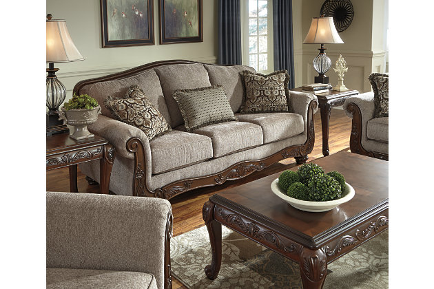 Reference The Past With This Elegant Traditional Rolled Arm And Camel Back  Sofa Set With Intricate