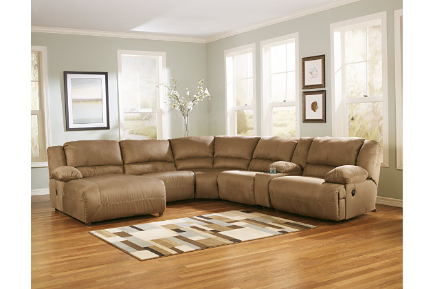 Mocha Tan Reclining Chaise Sofa Sectional with Console  sc 1 st  Ashley Furniture HomeStore & Hogan 6-Piece Sectional | Ashley Furniture HomeStore islam-shia.org