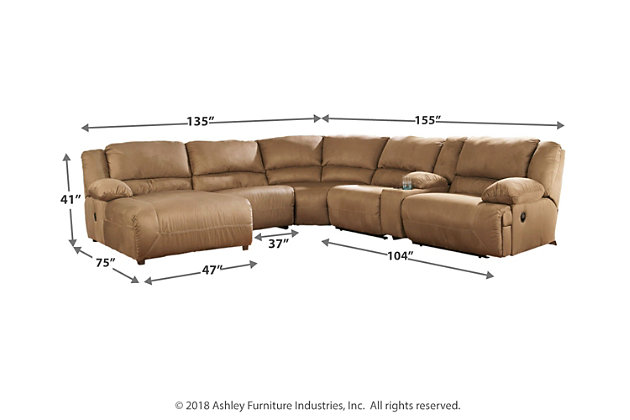ELIZA-6pc Dark Gray Fabric Reclining Sofa Couch Chaise ...