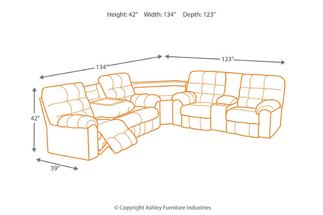 Acieona Reclining Sofa with Drop Down Table, , large