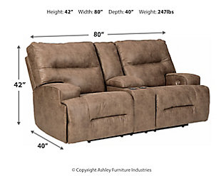 Hazenburg Power Reclining Loveseat with Console, , large