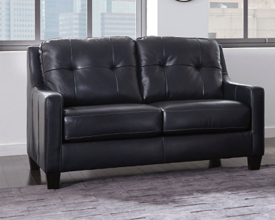 Navy Leather Loveseat Product Photo 813