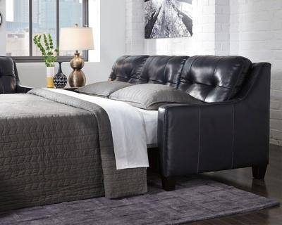 Ashley O'Kean Queen Sofa Sleeper, Navy Leather