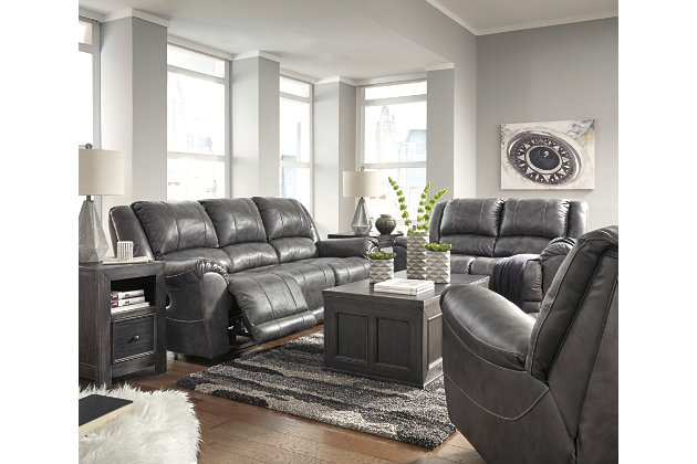 Persiphone Power Reclining Sofa, Charcoal, large