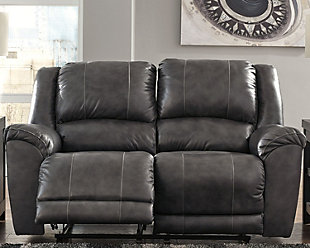 Persiphone Power Reclining Loveseat, Charcoal, rollover
