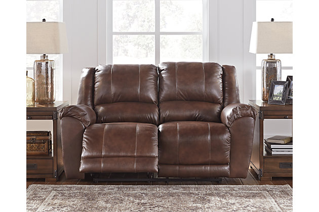 Persiphone Reclining Loveseat by Ashley HomeStore, , Leather (100 %)