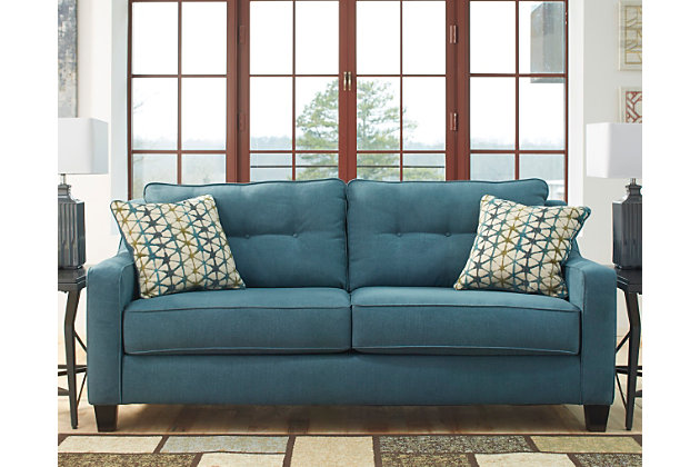 Shayla Sofa by Ashley HomeStore, Teal, Polyester (100 %)